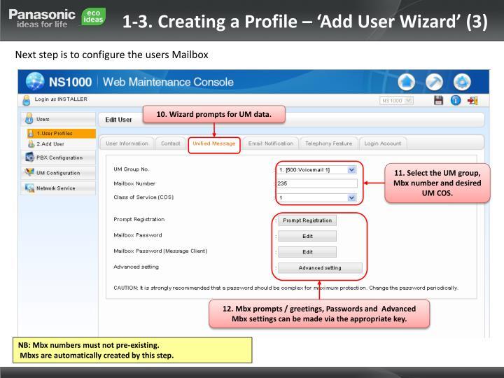 1-3. Creating a Profile – 'Add User Wizard' (3)