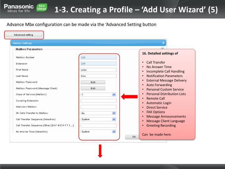 1-3. Creating a Profile – 'Add User Wizard' (5)