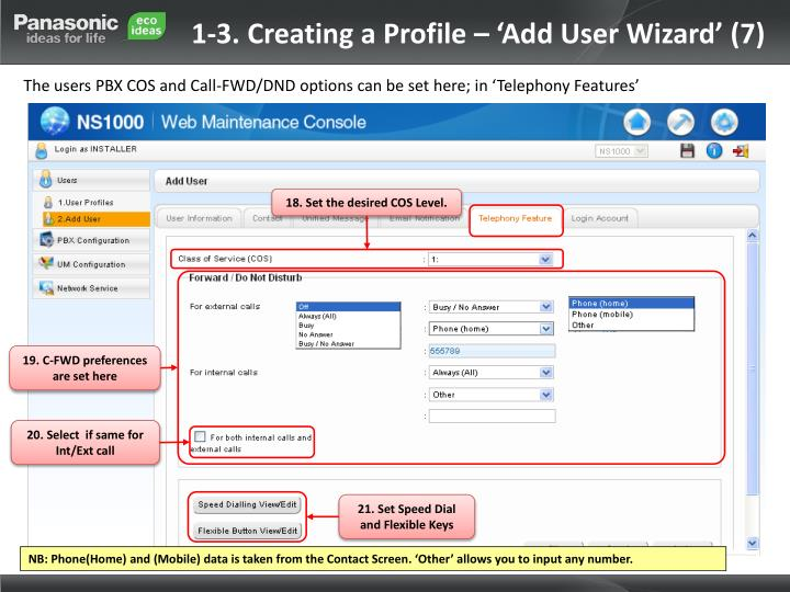 1-3. Creating a Profile – 'Add User Wizard' (7)