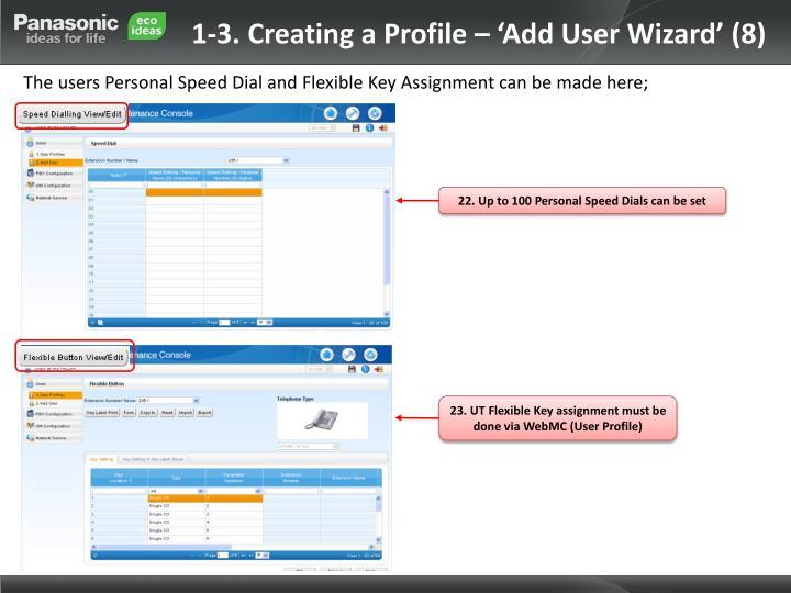 1-3. Creating a Profile – 'Add User Wizard' (8)