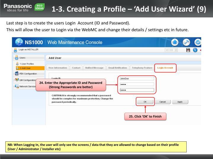 1-3. Creating a Profile – 'Add User Wizard' (9)