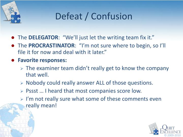 Defeat / Confusion