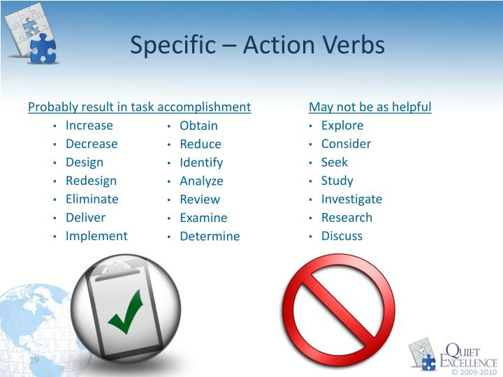 Specific – Action Verbs