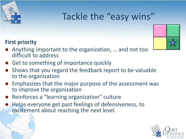 """Tackle the """"easy wins"""""""