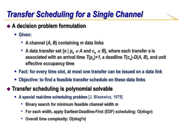 Transfer Scheduling for a Single Channel