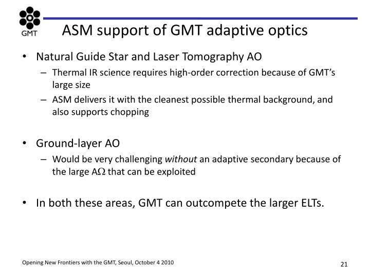 ASM support of GMT adaptive optics