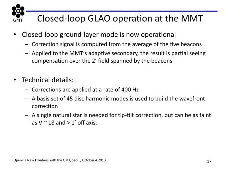 Closed-loop GLAO operation at the MMT
