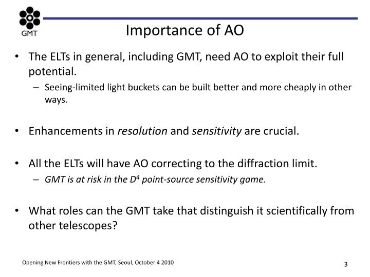 Importance of AO