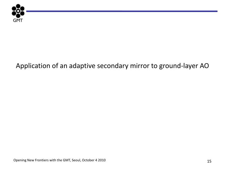 Application of an adaptive secondary mirror to ground-layer AO