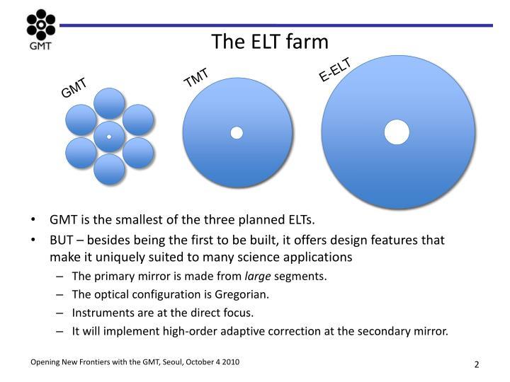 The ELT farm