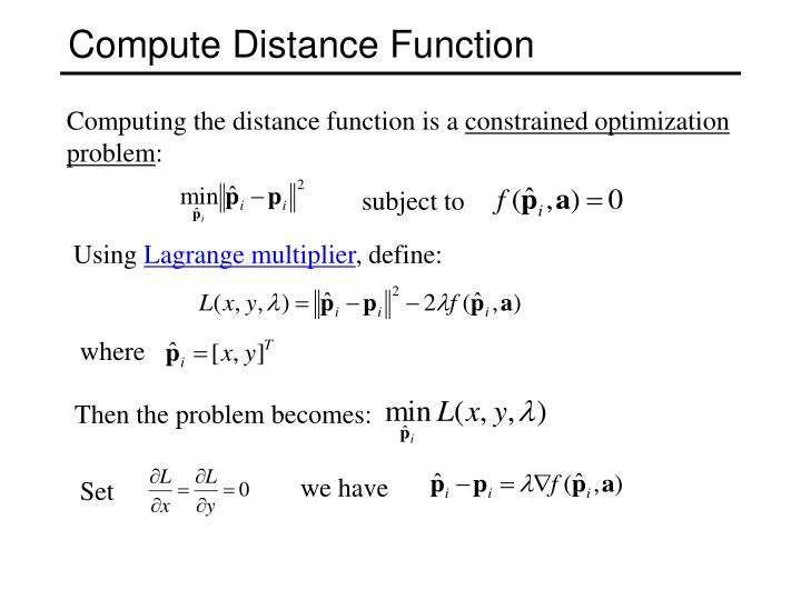 Compute Distance Function