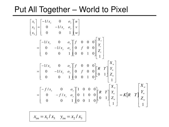 Put All Together – World to Pixel