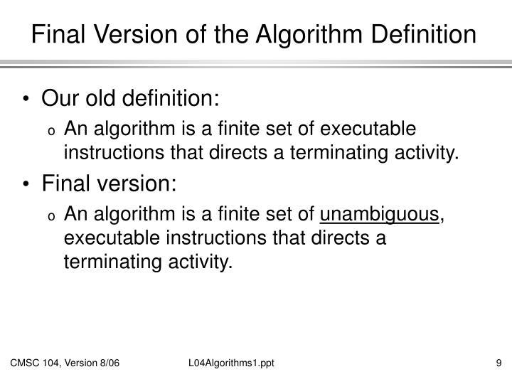 Final Version of the Algorithm Definition