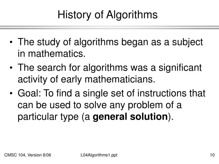 History of Algorithms