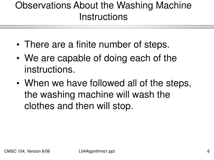 Observations About the Washing Machine Instructions