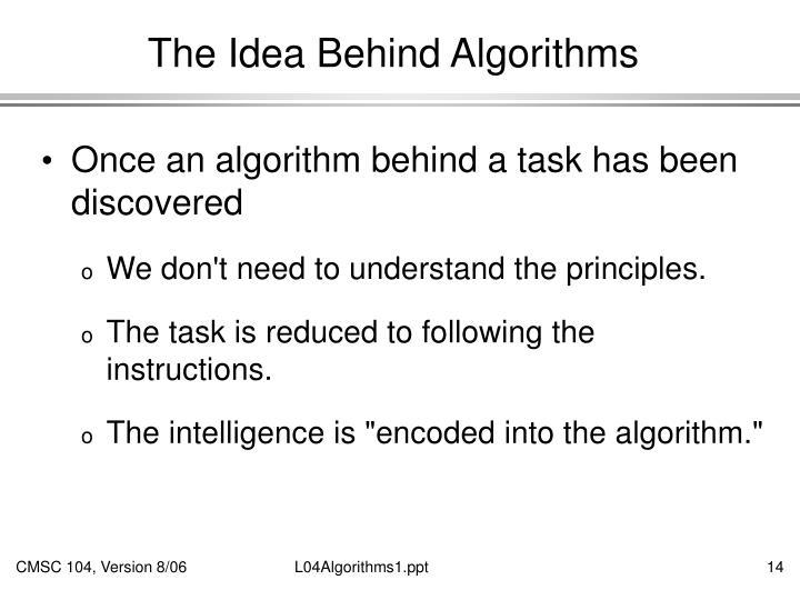 The Idea Behind Algorithms