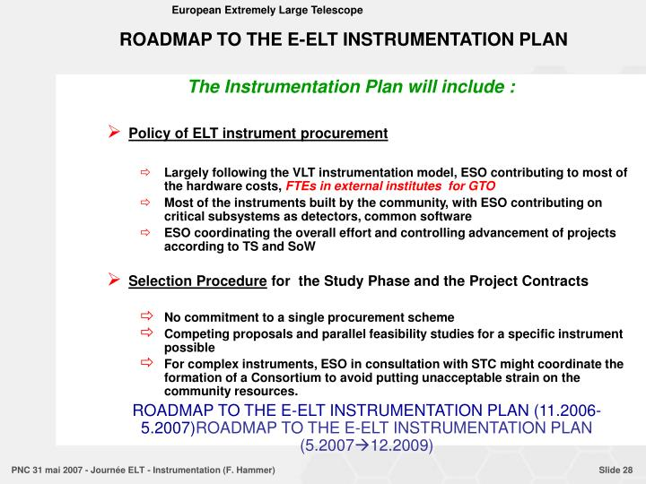 ROADMAP TO THE E-ELT INSTRUMENTATION PLAN