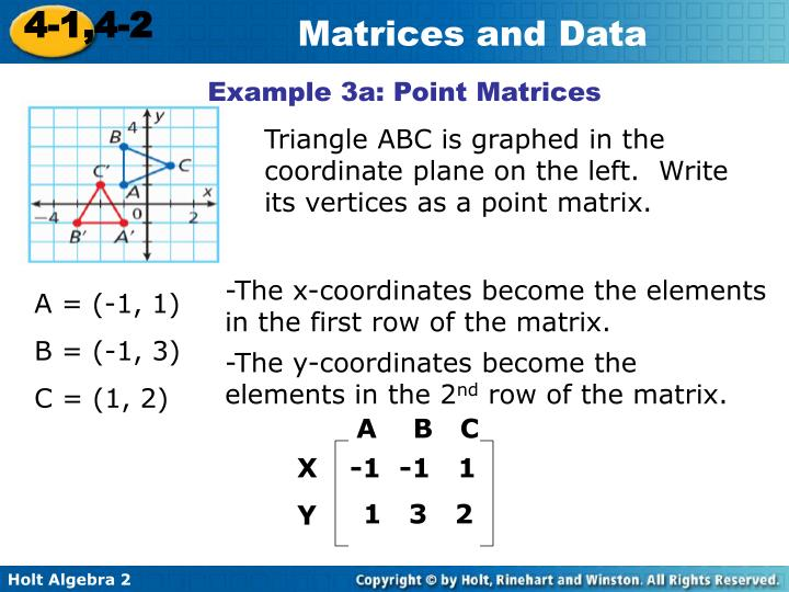 Example 3a: Point Matrices