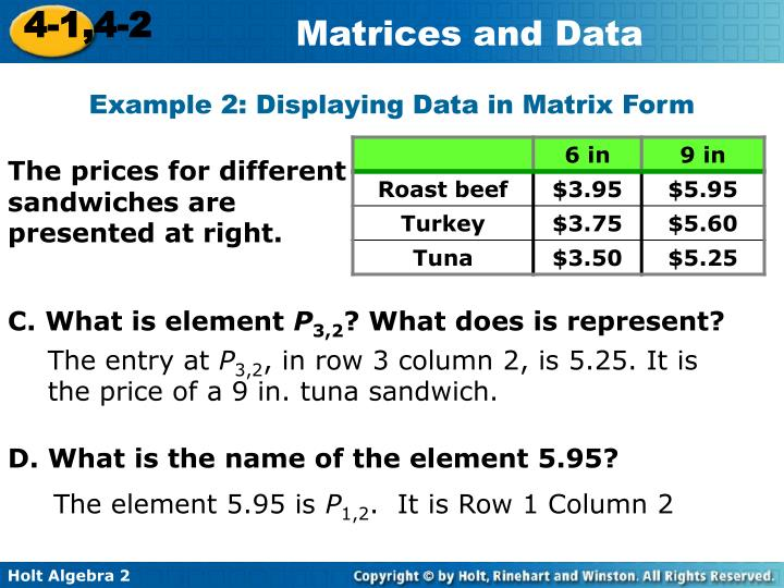Example 2: Displaying Data in Matrix Form