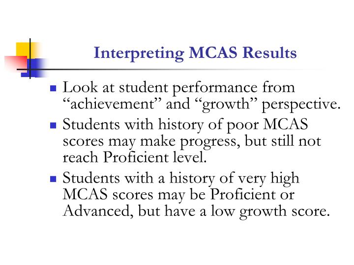 Interpreting MCAS Results