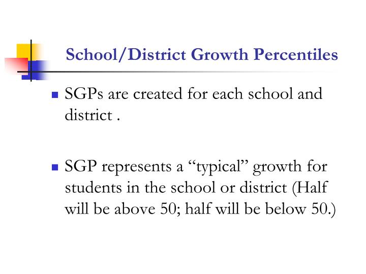 School/District Growth Percentiles