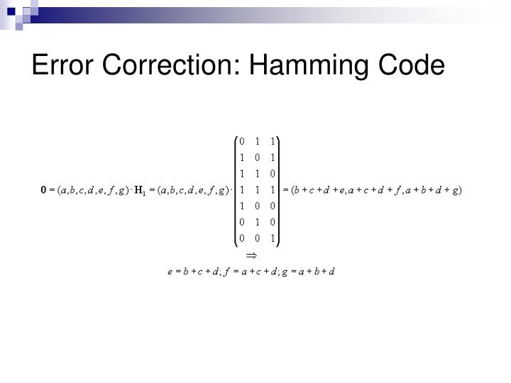 Error Correction: Hamming Code