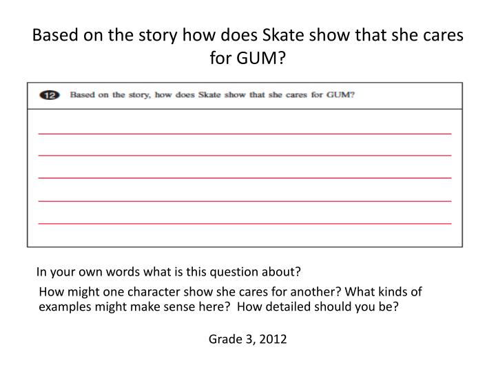 Based on the story how does Skate show that she cares for GUM?