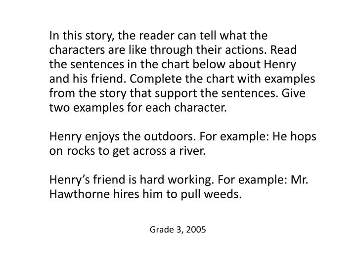 In this story, the reader can tell what the characters are like through their actions. Read the sentences in the chart below about Henry and his friend. Complete the chart with examples from the story that support the sentences. Give two examples for each character.