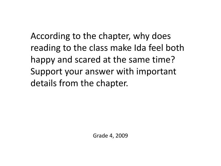 According to the chapter, why does reading to the class make Ida feel both happy and scared at the same time? Support your answer with important details from the chapter.