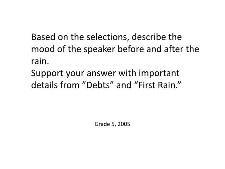 Based on the selections, describe the mood of the speaker before and after the rain.