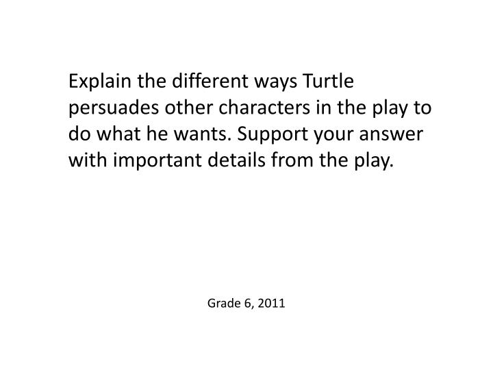 Explain the different ways Turtle persuades other characters in the play to do what he wants. Support your answer with important details from the play.