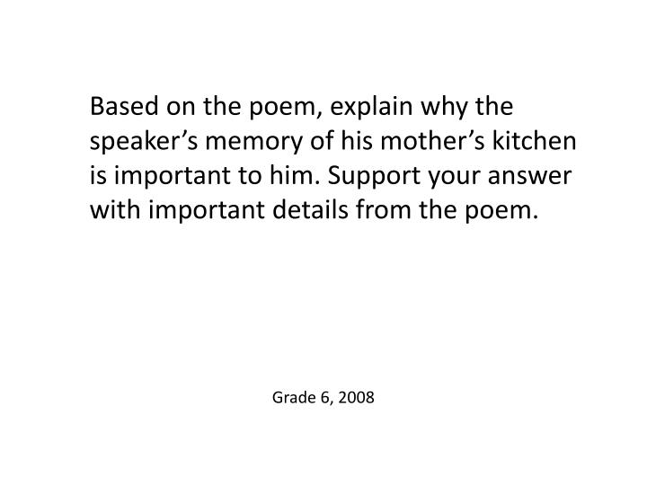 Based on the poem, explain why the speaker's memory of his mother's kitchen is important to him. Support your answer with important details from the poem.