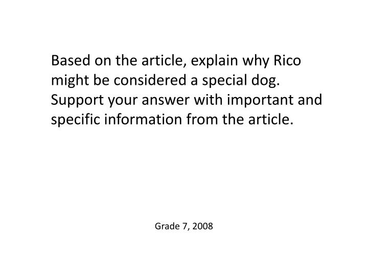 Based on the article, explain why Rico might be considered a special dog. Support your answer with important and specific information from the article.