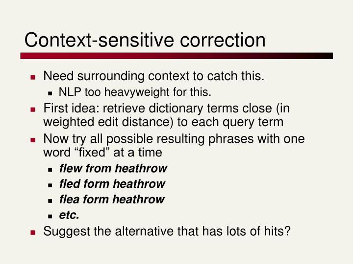 Context-sensitive correction