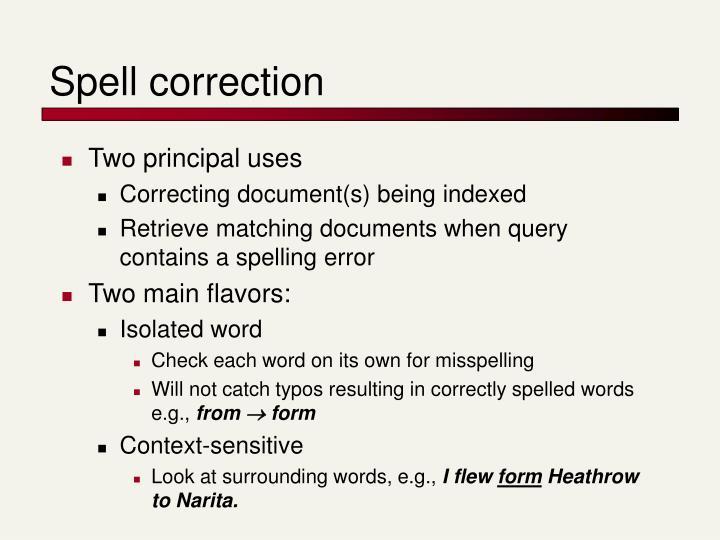 Spell correction