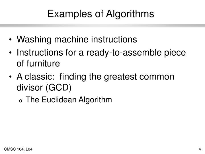 Examples of Algorithms