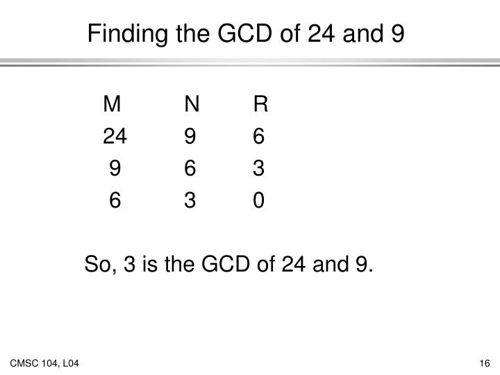 Finding the GCD of 24 and 9