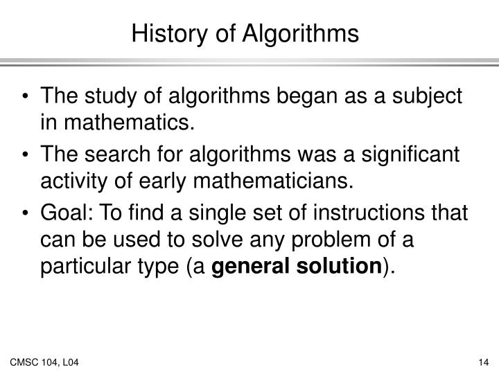 History of Algorithms