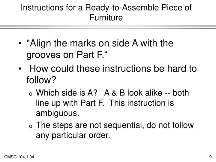 Instructions for a Ready-to-Assemble Piece of Furniture