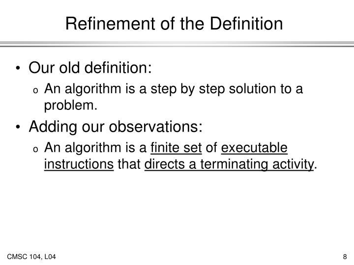Refinement of the Definition
