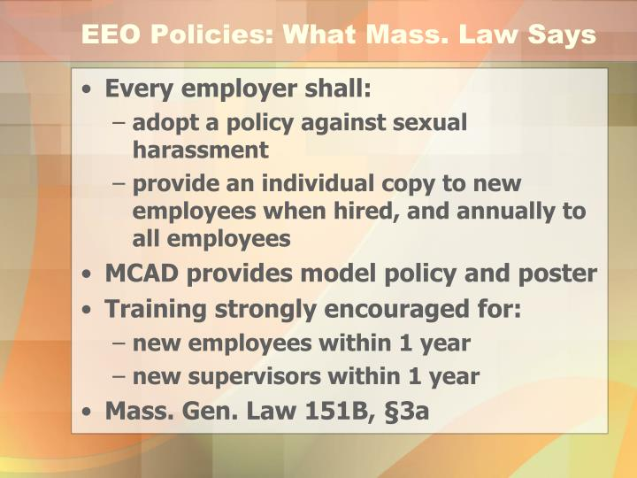 EEO Policies: What Mass. Law Says