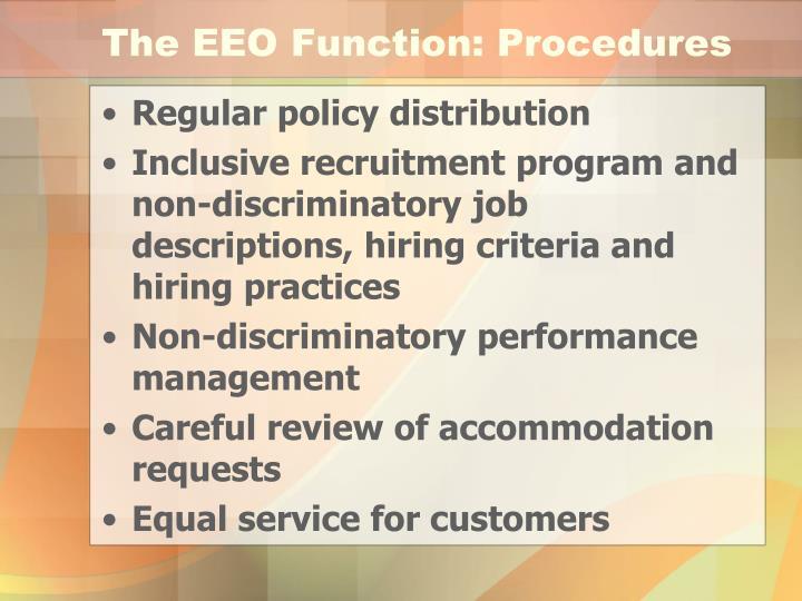The EEO Function: Procedures