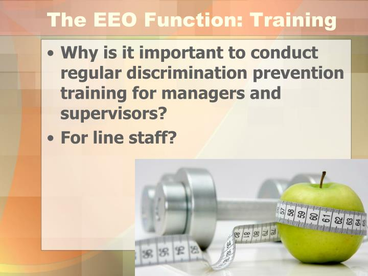 The EEO Function: Training