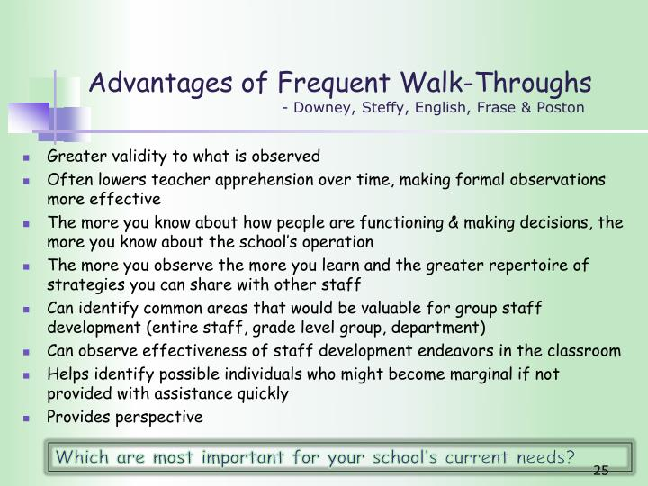 Advantages of Frequent Walk-Throughs