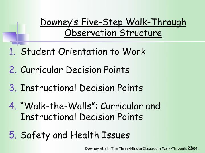 Downey's Five-Step Walk-Through Observation Structure
