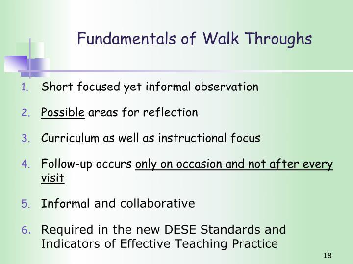 Fundamentals of Walk Throughs