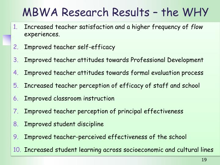 MBWA Research Results – the WHY