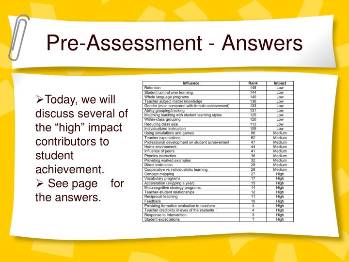 Pre-Assessment - Answers
