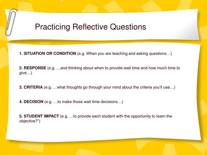 Practicing Reflective Questions