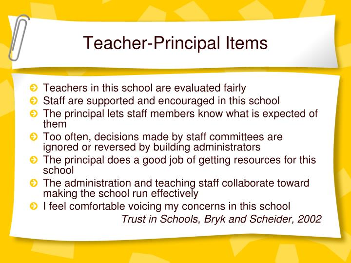 Teacher-Principal Items